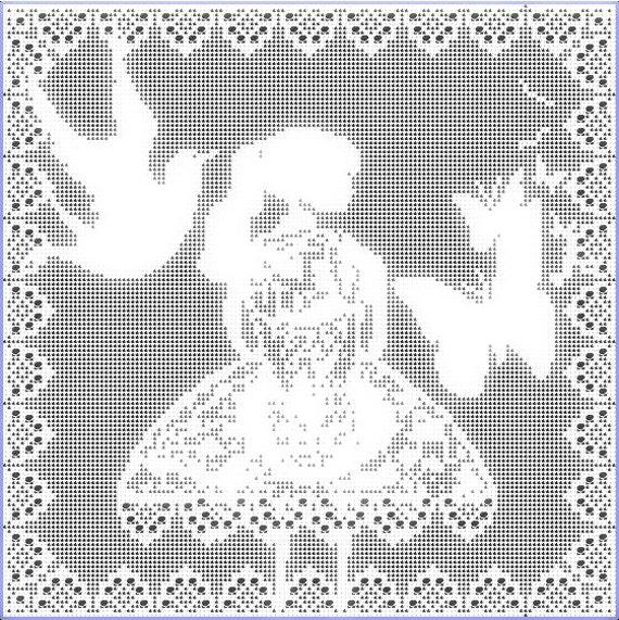 Girl In Dress Filet Crochet Pattern Pdf Instant Download Etsy