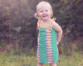 Girls Sun Dress / 'Daisy Chain' / Green polka dots with gold daisies / 12 months to 5T