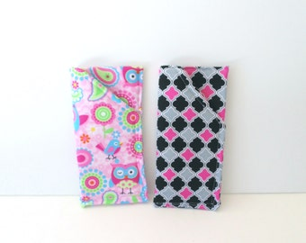 Pink Owl Sunglass Case - Pink and Black Pattern Eyeglass Slip