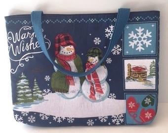 Snowman Holiday Tote Bag/ Snowman Holiday Gift Bag-Post Holiday Sale!