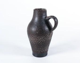 Töpferei Bürgel pottery vase, 1960s East German pottery Fat Lava vase, midcentury studio pottery snakeskin glaze