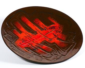 Richard Braun enamel IJmuiden steel dish, 1960s Dutch enamel art plate, midcentury modern fat lava brutalist style, retro desk decor