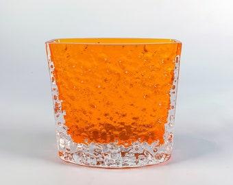 Vintage Whitefriars glass vase tangerine 9685, Nailhead Textured range Geoffrey Baxter, 1960s brutalist modernist retro decor