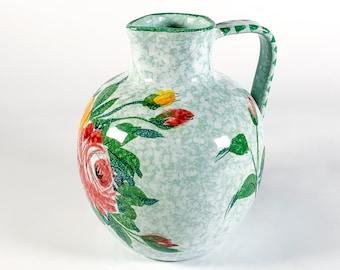 Vintage Bitossi pottery vase, 1950s Italian pottery flower vase, Aldo Londi handpainted premodern style