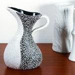 Vintage ARS Artigiana vase, 1960s Italian pottery jug, black and white decor, midcentury minimalist home decor, Alla Moda