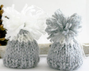 Miniature Hats- 2 Tiny Hats- Grey Hand Knit Caps- Set of Two- Doll, Small Pet, Teddy Bear- Egg Cozy
