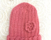 Pink Preemie Baby Hat- Hand Knitted Baby Cap- Crocheted Flower- Charity Donation