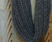 Chunky Grey Circle Scarf- Hand Knitted- Unisex- 48 Inches- WInter Accessory- Infinity Scarf- Warm Soft Grey Accessory- Bulky  Yarn