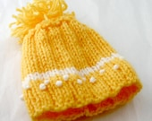 Yellow Preemie Hat- Hand Knit Baby Cap- Pom Pom- Embroidered Details- Charity Donation