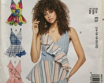e902850e0ff McCalls Misses Womens Close Fitting Mock Wrap Tops Sewing Pattern M0531 UC  Uncut FF Size 14 16 18 20 22 Plus