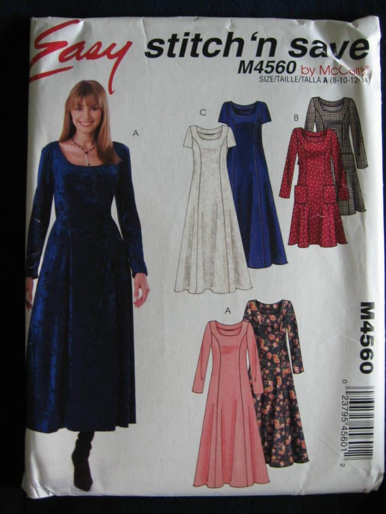 McCalls Easy Stitch n Save Pullover Dress Pattern M4560 UC Uncut FF Size 8  10 12 14