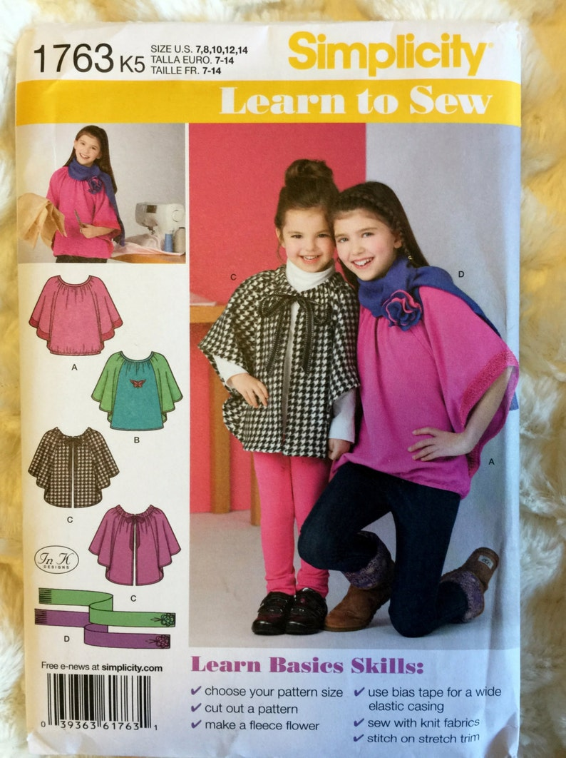 Simplicity Girls Knit Top Fleece Capelet and Scarf Sewing Pattern 1763 UC  FF Uncut Size 7 8 10 12 14