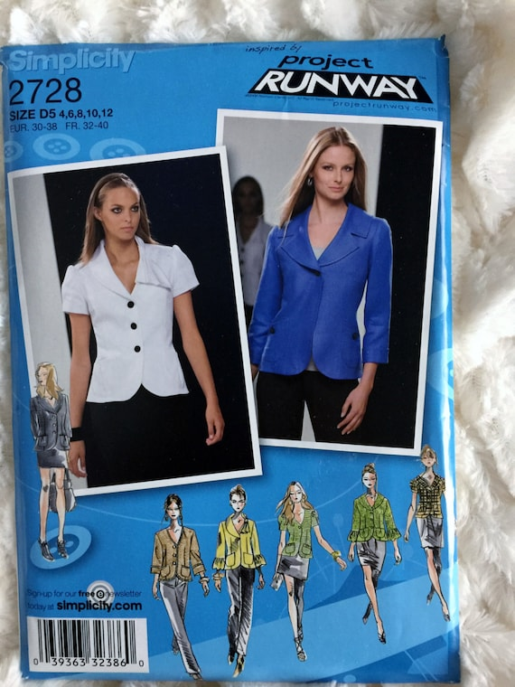 Simplicity Womens Project Runway Jacket Blazer Sewing Pattern Etsy