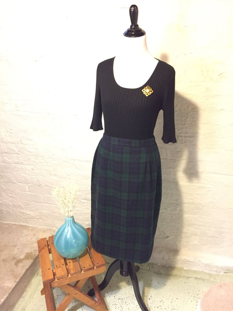 Pencil Skirt Green and Blue Wool Plaid Christy Girl by Dori image 0