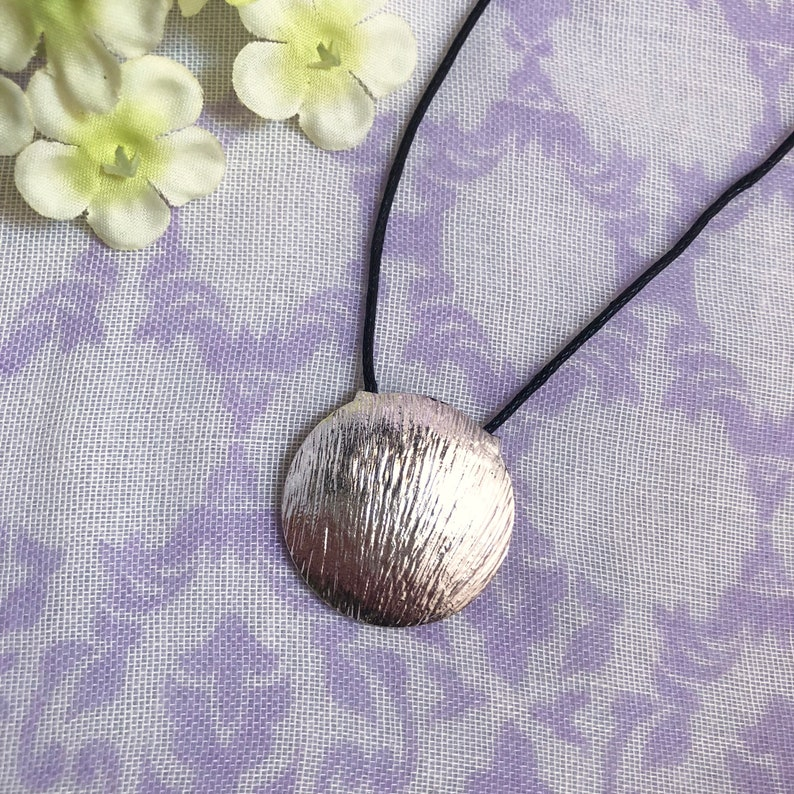 Silver Circle Necklace  18 Length  Black Cord with image 0