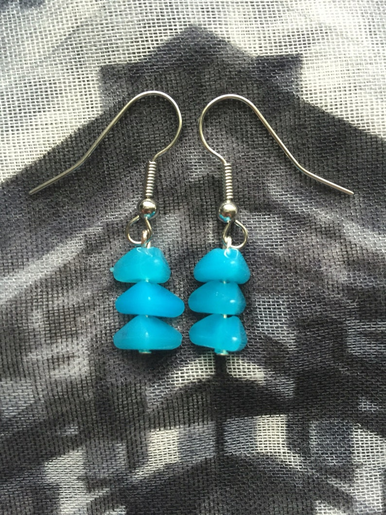 Bright Blue Beaded Drop Earrings image 0