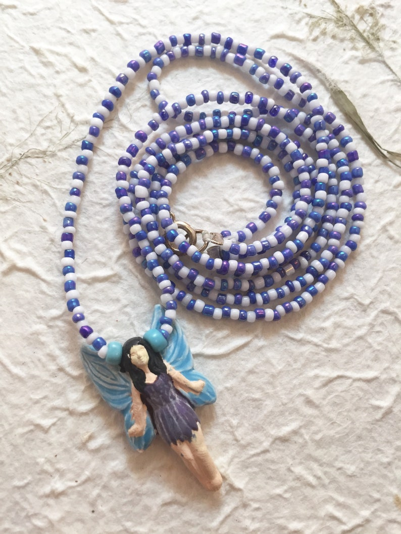 Handmade Fairy Pendant Necklace with Blue and White Beaded image 0