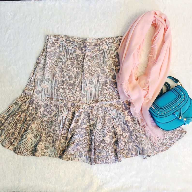 Floral Flare Skirt  Hearts of Palm  Size 14 image 0