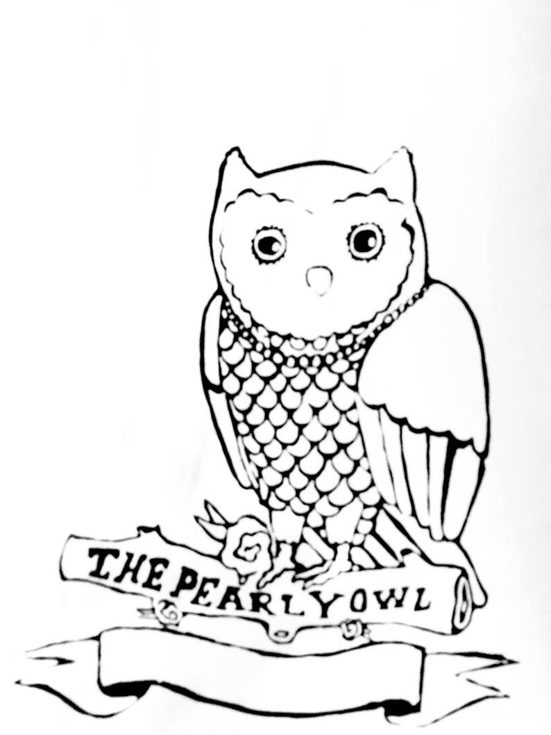 Mens T-shirt  Screen Printed  The Pearly Owl Handmade image 0