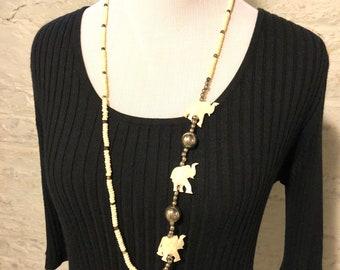 Elephant Necklace, Wood + Aluminum Beads, Handmade