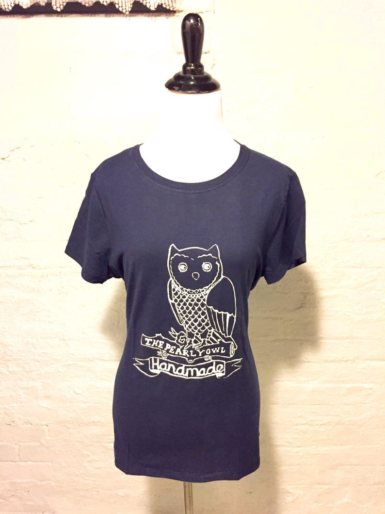 Womens T-shirt  Screen Printed The Pearly Owl Handmade image 0