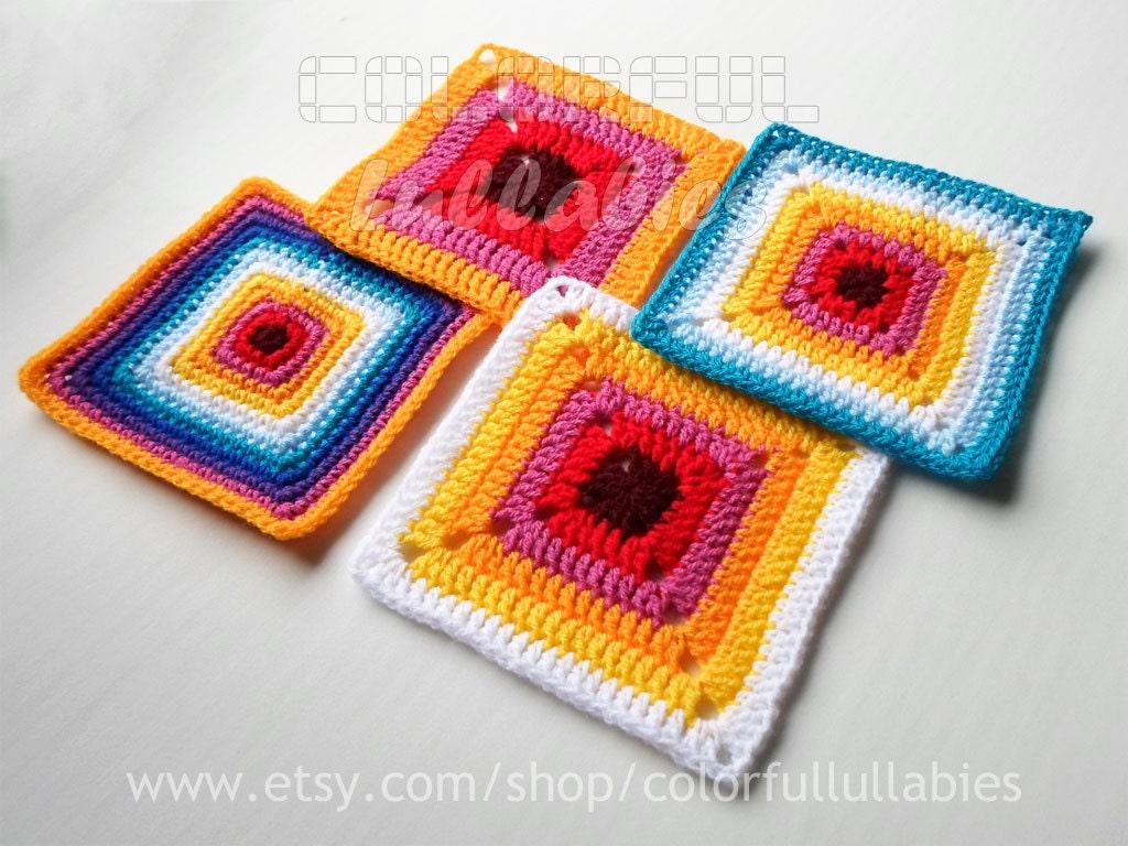 Excepcional Patrón Sólido Crochet Cuadrado Viñeta - Manta de Tejer ...