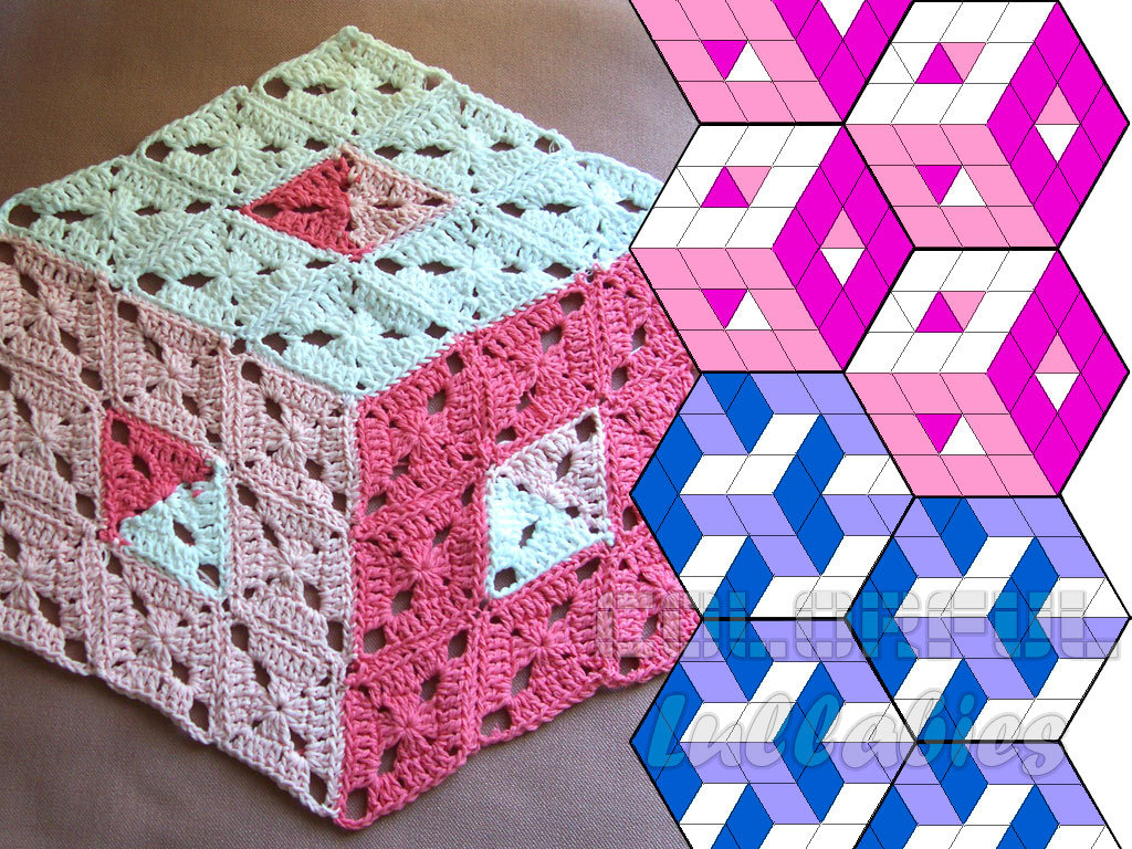 Optical Illusion Crochet Pattern 3d Illusion Stacked Cubes No Etsy