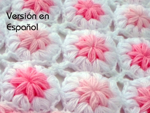 Crochet Baby Blanket Pattern Spanish Version Flowers In The