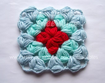 Puff granny square Crochet Pattern. Afghan block
