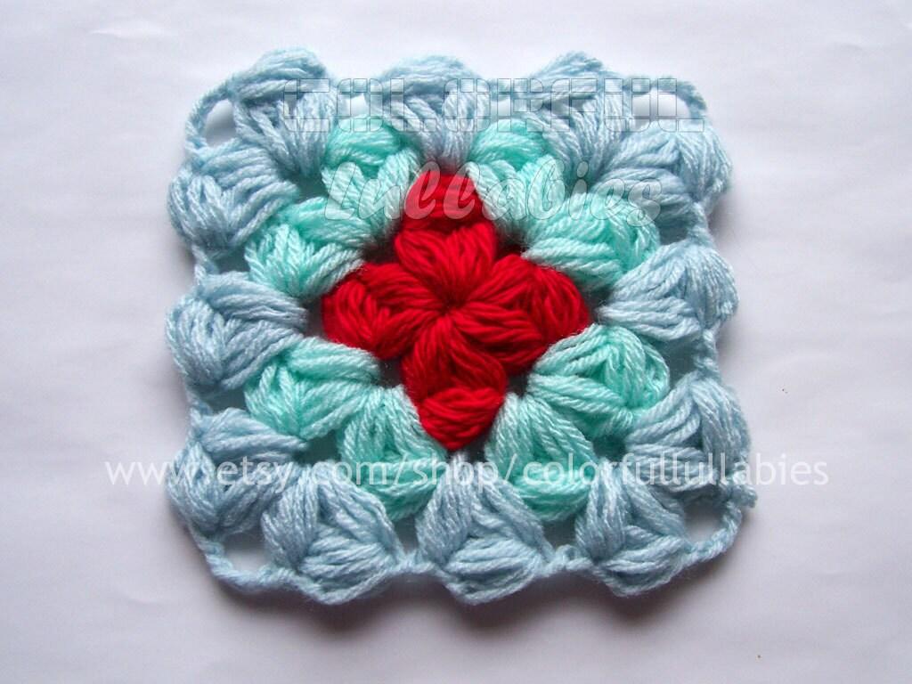 Puff Granny Square Crochet Pattern Afghan Block Etsy