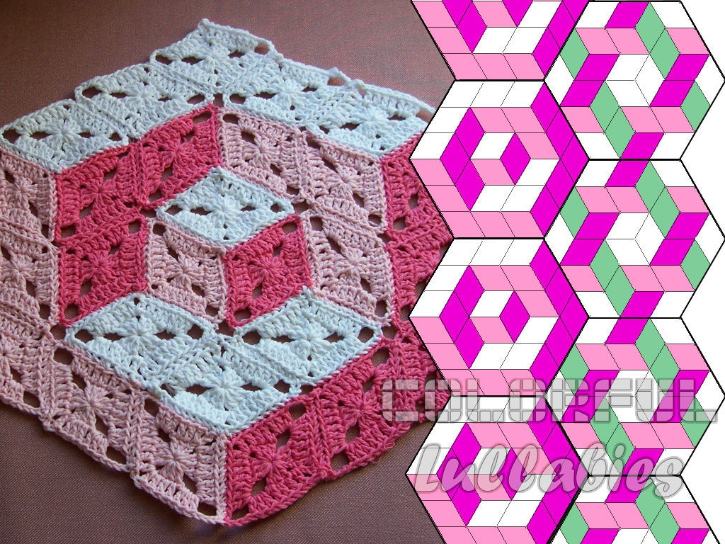 Optical Illusion Crochet Pattern 3d Illusion Crochet Stacked Etsy