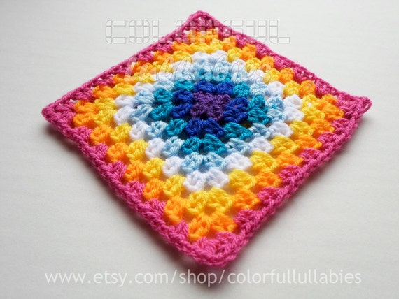 Half Double Crochet Granny Square chart. Pattern No 6 of the