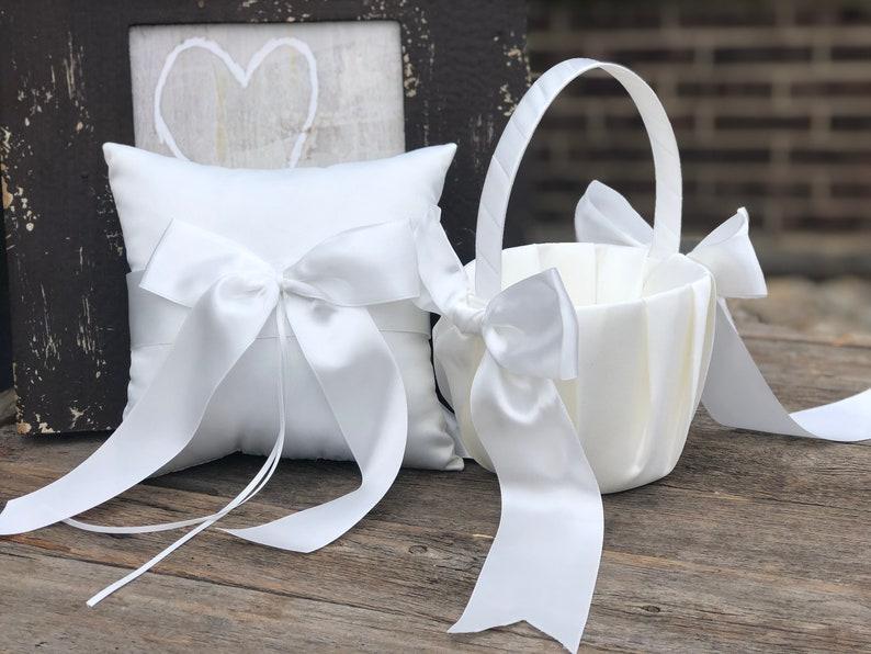 Plain Ivory or White Flower Girl Basket  Ring Bearer Pillow  image 0