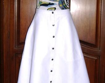 Carven Paris skirt,crisp white cotton bias cut  ankle length,Size 36/US 4
