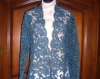 Lace evening jacket,teal blue Alencon french embroidered lace,Medium