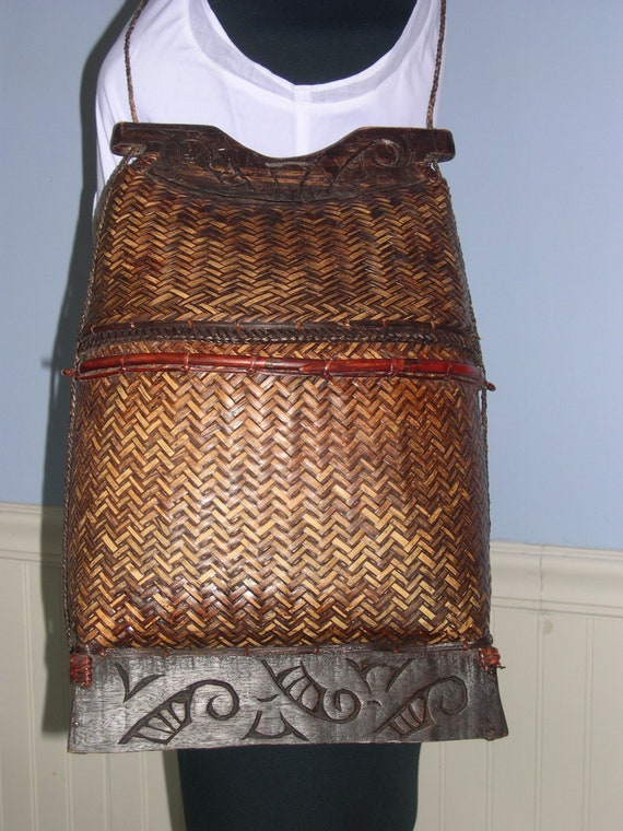 Vintage wicker fish basket/handbag , Thai brown wo