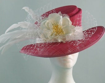Pink/White Derby Hat