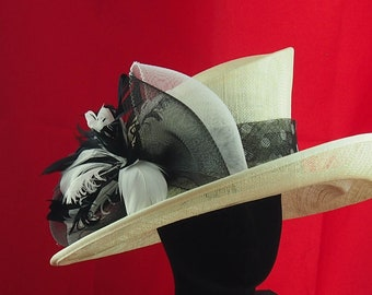 Yellow Sinamay Hat with Black and White Polka Dots