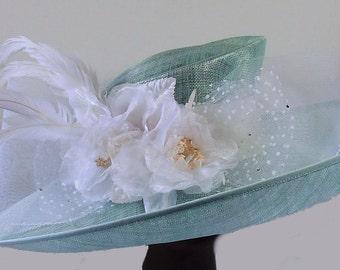 Mint Green Blush Light Pink White Rose Gold Feather Fascinator Sinamay Hair 6302
