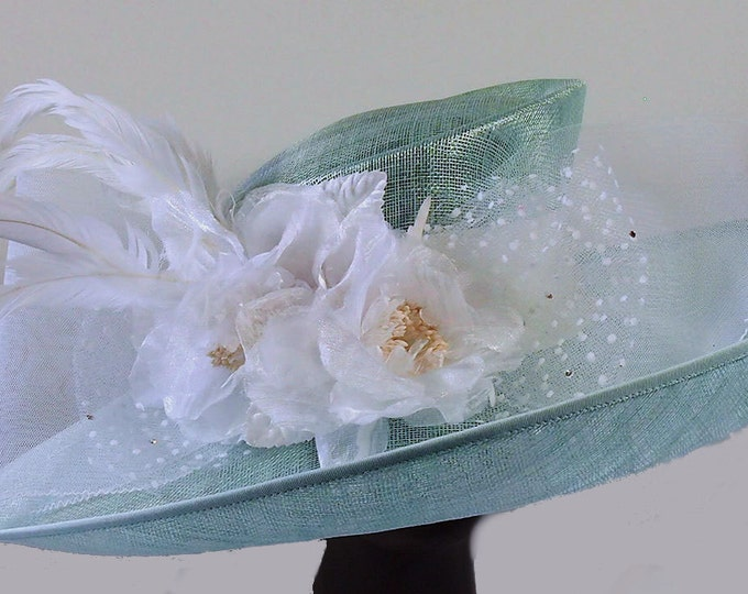 Featured listing image: Mint Green Sinamay Hat