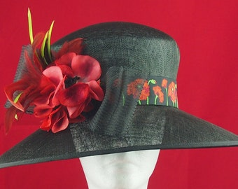 Black Derby Hat with Red Trim