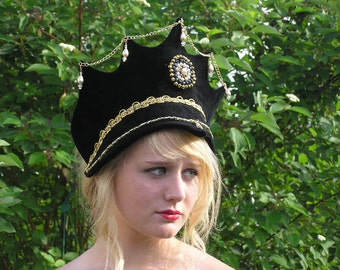 Black Velvet French Hood or Renaissance Crown