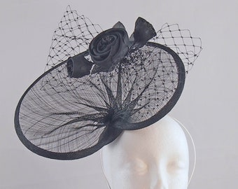 Black Gathered Fascinator