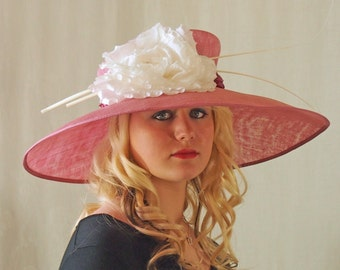 Kentucky Derby, Wedding, Easter Hat in Rose