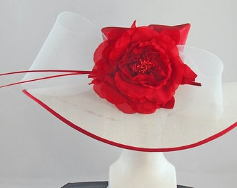 Red and White Derby Hat