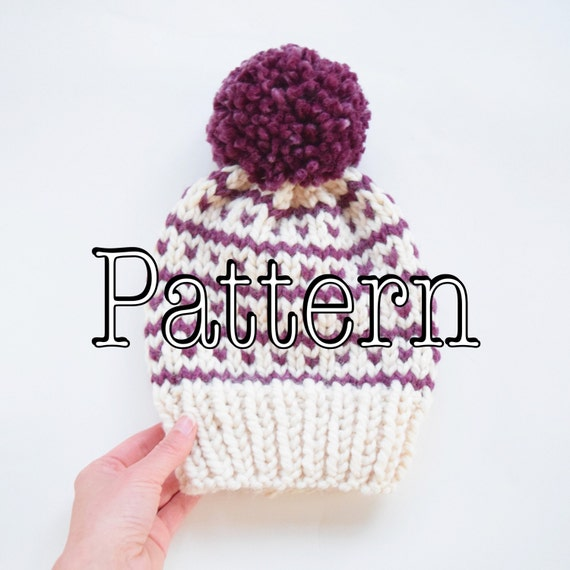 Knitting Pattern Fair Isle Knitted Hat Knitted Hat With Pom Etsy