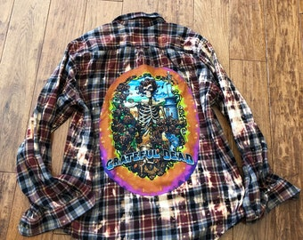 upcycled grateful dead tshirt on distressed flannel