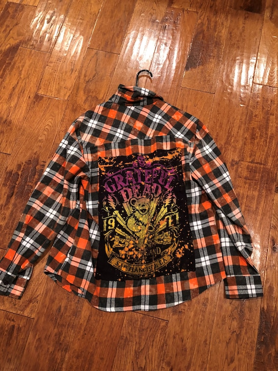 Grateful  Dead flannel shirt upcycled size 6