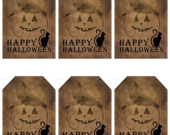 grungy tag set, primitive tags, craft supplies, scrapbooking - happy halloween with jackolantern and cat - digital PDF and jpeg - HHGT02
