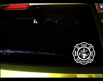 "Car decals in 2 sizes ""Fire Rescue"" fireman seal, vinyl, vehicle vinyl, vinyl decal, sticker, fireman seal, OUTDOOR"